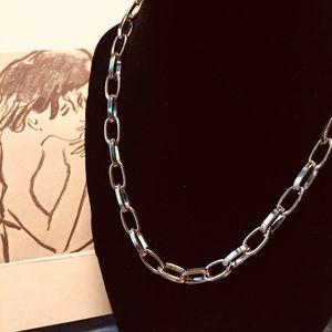 "Silvertone Cable Chain Necklace 18"""